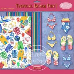 Tropcial Beach, Pool Party, Tanning, Luau, Swim Wear, Bikini, Flip Flops, Backgrounds and GraphicsGina Jane Designs - DAISIE Company