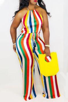 Colour Sexy Striped Split Joint Halter Straight Jumpsuits Orange Fashion, Black Girl Fashion, Colorful Fashion, Stripes Fashion, Purple Fashion, Plus Size Jumpsuit, Jumpsuits For Women, Cheap Clothes, Cheap Shoes