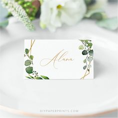 Greenery Place Cards, Wedding Templates, Printable Guest Name Cards, Wedding Place Cards template, Eucalyptus, AMY by DIYPaperPrints on Etsy