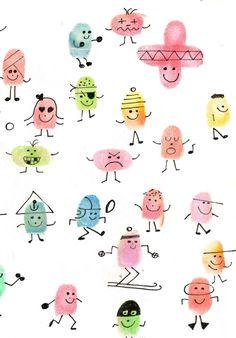 Afbeeldingsresultaat voor thumbprint pictures for kids Art Drawings For Kids, Easy Drawings, Art For Kids, Projects For Kids, Crafts For Kids, Fingerprint Crafts, Thumb Prints, Hand Prints, Finger Art