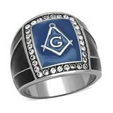 Masonic Blue - Blue Enamel and Top Grade Crystal Stainless Steel Masonic Symbol Ring