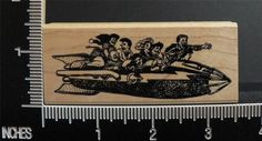 FUNNY PEOPLE IN A ROCKET SHIP RARE rubber stamp BY KEN BROWN STAMPS