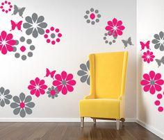 Wall Decal Flowers Butterflies Circles Vinyl WALL by PlanetWallArt