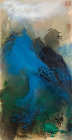 ZHANG DAQIAN Mist Clearing Over Pine Covered Peaks Scroll, mounted and framed, ink and colour on paper x cm. ¾ x 37 ½ in.) Dated 1969 Chinese Landscape, Abstract Landscape, Landscape Paintings, Modern Paintings, Abstract Art, Japan Painting, Ink Painting, Art Chinois, China Art