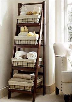 ladder floor storage | Modern storage options for your bathroom. When I have a huge bathroom.