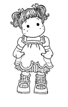 Cute doll coloring page Colouring Pics, Coloring Book Pages, Coloring Sheets, Magnolia Colors, Art Impressions, Black And White Drawing, Copics, Digital Stamps, Colorful Pictures