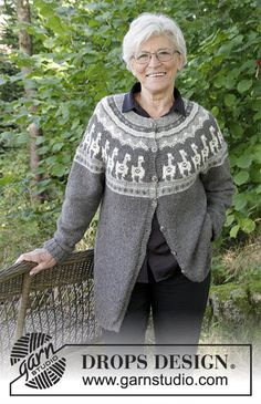 Andean Caravan Jacket  - The set consists of: Knitted jacket with round yoke, multi-coloured pattern and A-shape, worked top down. Sizes S - XXXL. Hat with multi-coloured pattern. The set is worked in DROPS Puna. Free knitted pattern DROPS 184-19