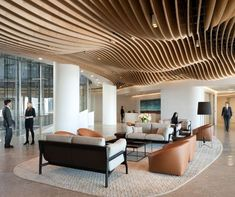 Great waiting area with cool ceiling design - Clayton Utz at 1 Bligh Street, Sydney Australia by Bates Smart