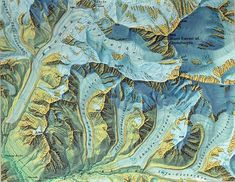 A beautiful map of Mt. Everest by Eduard Imhof