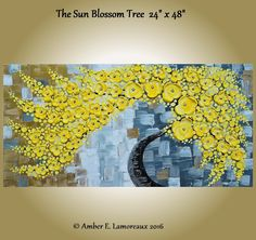 """Huge 24"""" x 48"""" Original Yellow Impasto Abstract Tree Painting Heavy Texture Flowers Blossoms Palette Knife. 'The Sun Blossom Tree' huge gallery wrapped canvas 24"""" x 48"""" x 3/4"""" original impasto palette knife painting by artist Amber Elizabeth Lamoreaux. The sun blossom tree sways in the breeze, its bright yellow flowers reflecting the light of the sun. Every painting comes with a unique certificate of authenticity that can be validated online through the EBSQ artists' site. My art is..."""