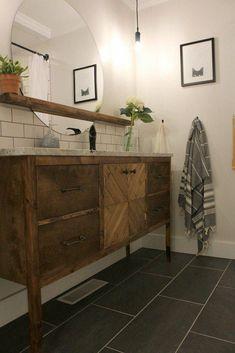 tiny Bathroom Decor Before amp; After: A Tiny Bathroom Gets a Stylish Space-Maximizing Makeover Bathroom Floor Tiles, Modern Bathroom, Small Bathroom, Bathroom Ideas, Bathroom Makeovers, Tile Floor, Rental Bathroom, Bathroom Renovations, Wood Floor