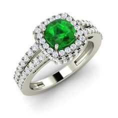 Cushion-Cut Emerald Halo Ring in 14k White Gold with SI Diamond