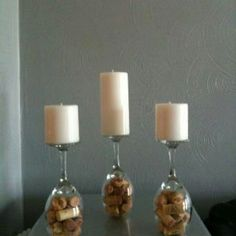 DIY candle holders will look good at any party! Wine bottle corks and wine goblets. how easy is that? *CC- Got wine glasses at the Dollar Tree, used candles and corks I already have. Wine Craft, Wine Cork Crafts, Wine Bottle Crafts, Bottle Art, Glass Bottle, Wine Theme Kitchen, Kitchen Decor Themes, Room Decor, Wine Candles