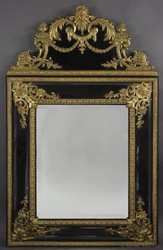 A Rare Régence Style Gilt-Bronze Mounted Ebonised Mirror - Adrian Alan
