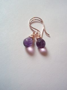 GEMSTONE natural amethyst dangle earrings rose gold by idooidoo, $12.00