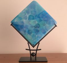 Fused Glass Art, Blue Aqua Lavender Art Glass Sculpture with Steel Stand
