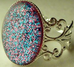 Nail Polish Ring  F4 Cotton Candy Confetti by BeadsInk on Etsy, $8.00
