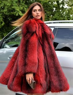 New Rose Red Royal Saga Fox Fur Coat Swinger Clas Sable Mink Lynx Silver Poncho   eBay