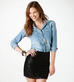 Sequined  Skirt w/ denim shirt & black necklace