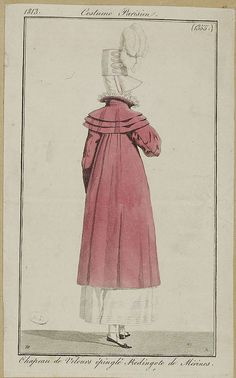 1813 Costume Parisien. Hat of uncut velvet. Redingote of merino (wool).