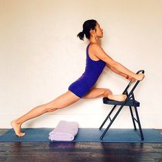 pigeon with chair assist   yoga