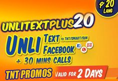 Wow, this is a great promo from Talk N Text , just a 20 pesos in your pocket you can avail the exciting promo package of unlimited text and.