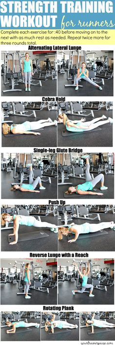 Strength Training Workout for Runners. Also great at-home workout Strength Training For Runners, Strength Training Workouts, Running Workouts, At Home Workouts, Strength Workout At Home, Running Tips, Parkour, Crossfit, Single Leg Glute Bridge
