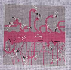 Charley Harper Flamingo Row Needlepoint Canvas