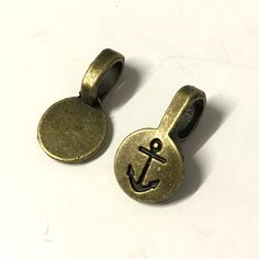10, antique bronze bails, 18mm x 10mm bails, necklace making, anchor detail, antique bronze findings, jewellery making, jewellery supplies by Buttonsheduk on Etsy