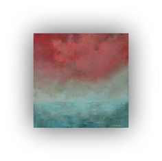 Excited to share the latest addition to my #etsy shop: Abstract Seascape Oil Painting- Small Pink and Blue Ocean Painting- 12 x 12 Sky and Clouds Palette Knife Art on Canvas