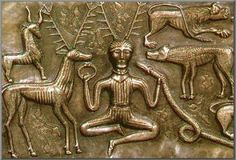 """A close-up of the Gundestrup cauldron thought to depict the so-called """"Horned God"""", often called by his supposed Celtic name Cernunnos. Irish Celtic, Celtic Art, Ancient Art, Ancient History, Wicca, Vikings, Art Romain, Celtic Druids, Alexandre Le Grand"""