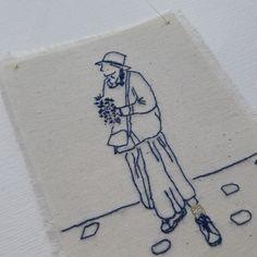 Trois petits riens - La dame au chapeau brodée - broderie - broderie minimaliste - broderie moderne