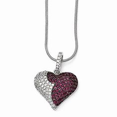 Brilliant Embers Sterling Silver Heart Necklace