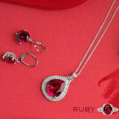Beautiful ruby stone pendent with earrings change your whole outfit