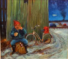 REIJO KIVIJÄRVI - Kirkonpolttajan kahvitauko / Chruch Burner´s Coffee Break Coffee Break, Finland, Fine Art, Poster, Painting, Bicycles, Painting Art, Paintings, Visual Arts