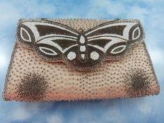 Dainty Mid Century Beaded Butterfly Bag/Purse