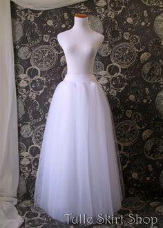 For the civil wedding: White Tulle Skirt - Adult full Length Tutu, Wedding Skirt, Crinoline or Petticoat - Made to Order on Etsy, ₱4,794.52