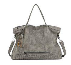 women top handle satchel leather handbag Punk Motorcycle Rivet Studded  Tassel shoulder bag  CarryWithYou Tote 6be1f838d11a4