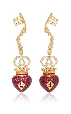 Surrealist Collection Red Sapphire Earrings by LYDIA COURTEILLE for Preorder on Moda Operandi