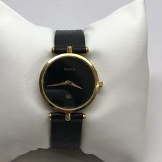 85f32f2cbac ... North Shore Exchange. Gucci Watch Gold Plated Black Leather Strap  195   gucci  NSE  northshoreexchange