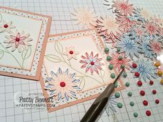 Simple Flower Note Cards featuring Stampin' UP! Grateful Bunch stamp set and matching Blossom Bunch Punch with It's My Party enamel dots in the center of each flower by Patty Bennett www.PattyStamps.com