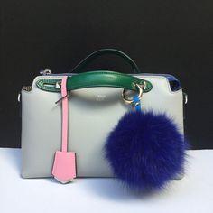 New Summer Colors Fox Fur bag charm fur pom pom keychain fur ball keyring purse pendant in royal blue