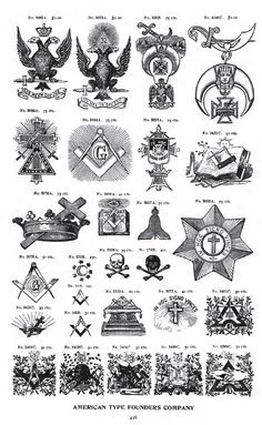 A page out of an old catalog from a printing company, showing designs associated with various Freemasonry body and related groups
