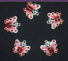Red Enamel and Rhinestone Butterfly Charms   by marykerran on Etsy, $6.50