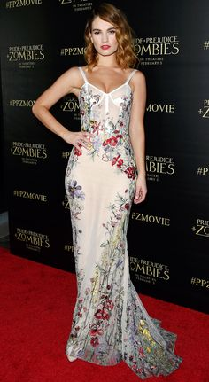 Lily James in a lingerie-inspired Alexander McQueen floral dress