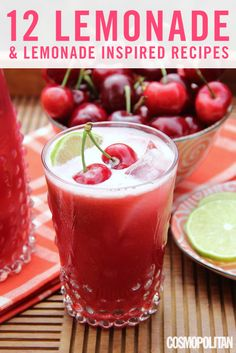 Cherry Limeade - Lemonade and Lemonade-Inspired Recipes Refreshing Drinks, Fun Drinks, Yummy Drinks, Healthy Drinks, Beverages, Yummy Food, Alcoholic Drinks, Cherry Limeade Recipe, Jus Detox