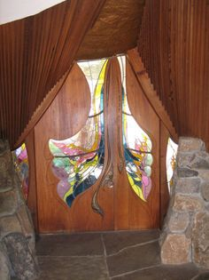 Sea Ranch Chapel. Interior view of doors by James Hubbell.