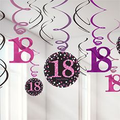 Pinker 18. Geburtstag - Wirbel Hängedeko