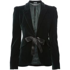 Alexander McQueen bow detail jacket (22.750 ARS) ❤ liked on Polyvore featuring outerwear, jackets, blazers, green, long sleeve jacket, blazer jacket, green blazer, green blazer jacket and long sleeve blazer