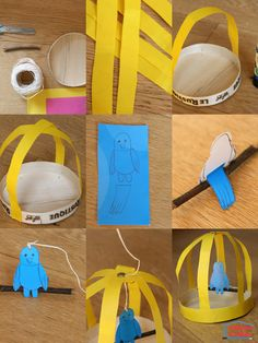 Pas besoin de nourrir ce petit oiseau ;) Il est en papier et restera tranquillement dans sa cage ! Si les enfants estiment qu'il s'ennuie, ils pourront installer un autre oiseau pour qu'ils puissent discuter ;) Cette activité manuelle nous a permis entre autre de recycler une boite de camembert. Matériel nécessaire pour fabriquer une cage d'oiseau Il vous faudra :  une boite de camembert (à recycler donc) de la ficelle un petit bâton à trouver dans le jardin un...